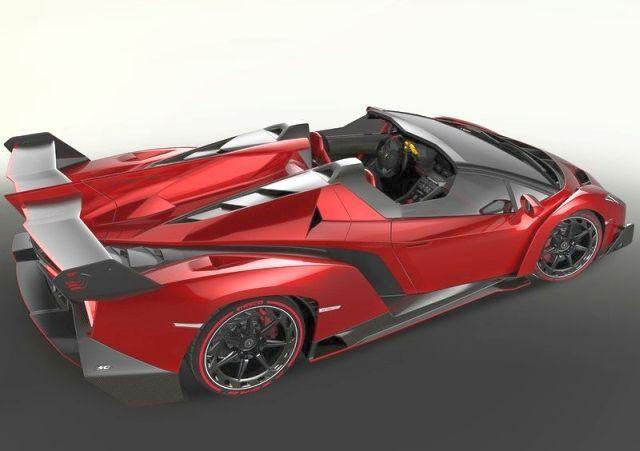 2014_LAMBORGHINI_VENENO_Roadster_RED_airview_rear_pic-5