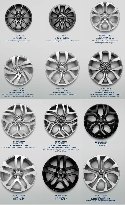 2020 Range Rover Evoque' da 17 inç'ten 21 inç' e kadar tercih edilebilecek birçok seçenek mevcut.